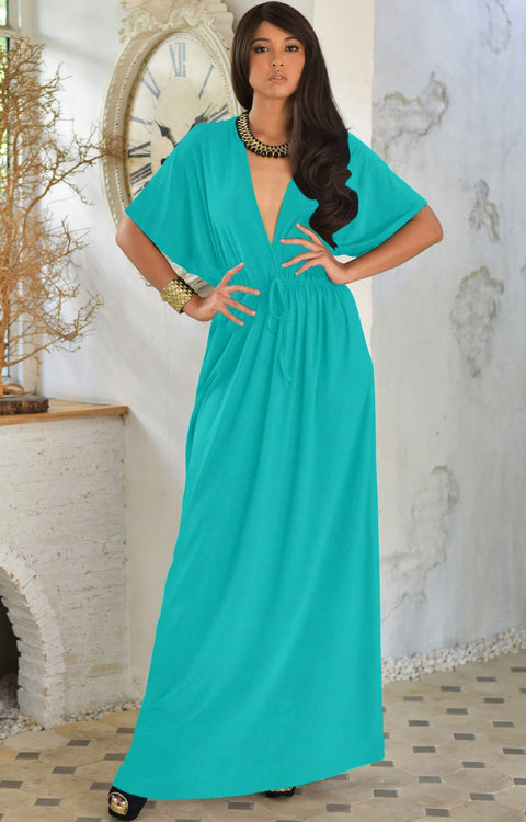BRIELLE - Sundress Holiday Vacation Maxi Dress Gown Travel Cruise Sun - Turquoise / 2X Large