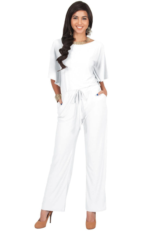 BRITTANY - Dressy Short Sleeve Boat Neck Jumpsuit