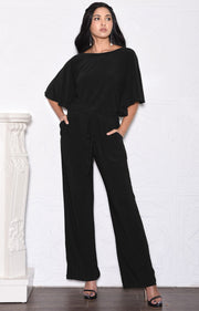 BRITTANY - Dressy Short Sleeve Boat Neck Jumpsuit - Black / 2X Large