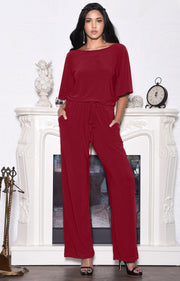 BRITTANY - Dressy Short Sleeve Boat Neck Jumpsuit - Crimson Dark Red / 2X Large