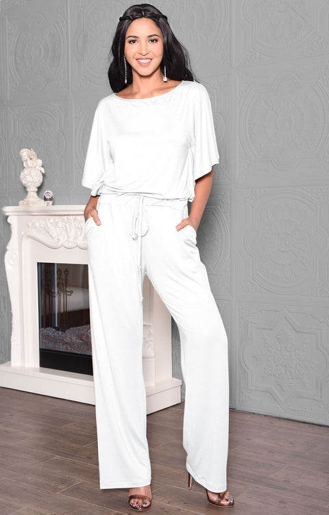 BRITTANY - Dressy Short Sleeve Boat Neck Jumpsuit - Ivory White / Small
