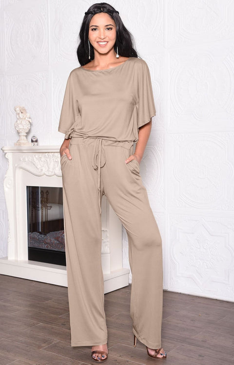 BRITTANY - Dressy Short Sleeve Boat Neck Jumpsuit - Tan Light Brown / 2X Large