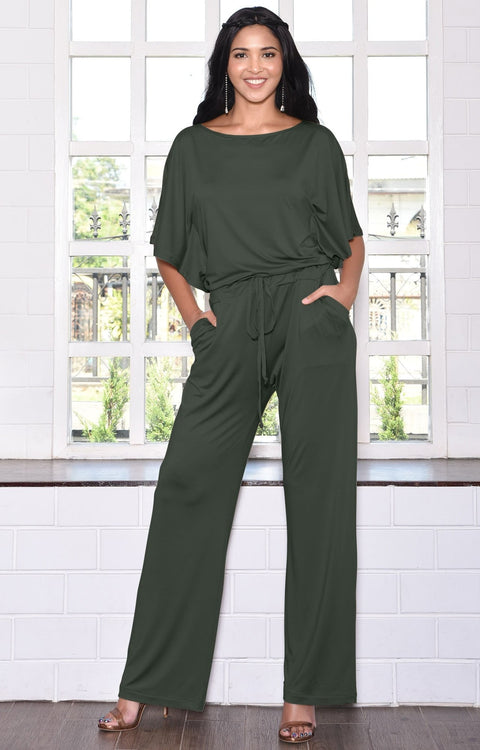 BRITTANY - Dressy Short Sleeve Boat Neck Jumpsuit - Olive Green / 2X Large