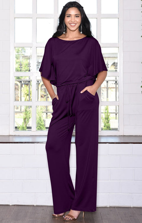 BRITTANY - Dressy Short Sleeve Boat Neck Jumpsuit - Purple / 2X Large