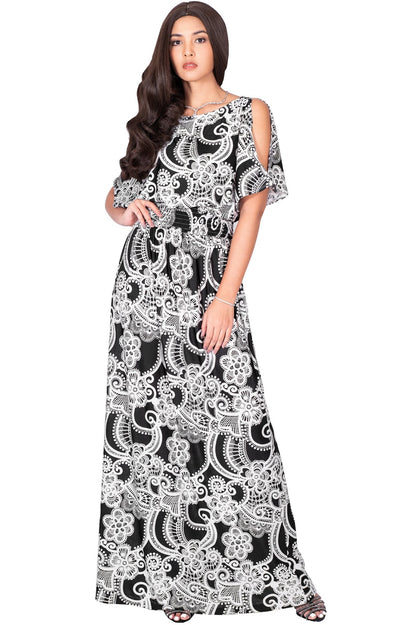 CALLIE - Long Floral Print Short Sleeve Summer Sundress Maxi Dress - Black & White / Small