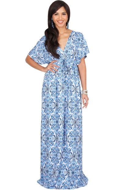 CERA - Kimono Sleeve V-Neck Printed Sumner Maxi Dress - Royal Blue & White / 2X Large