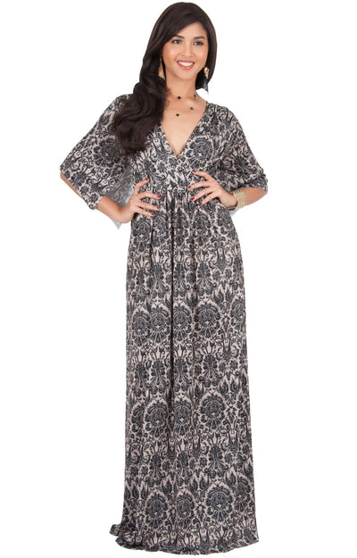 CHARLIE - Short Sleeve Flowy V-neck Printed Maxi Dress - Black & Beige / Large