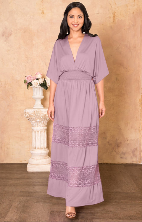 CIA - Long Bridesmaid Wedding Sundress Vneck Lace Sexy Maxi Dress Gown