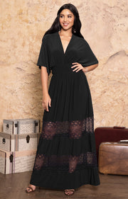 CIA - Long Bridesmaid Wedding Sundress Vneck Lace Sexy Maxi Dress Gown - Black / 2X Large