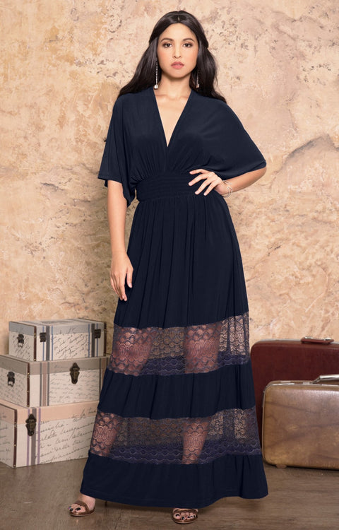 CIA - Long Bridesmaid Wedding Sundress Vneck Lace Sexy Maxi Dress Gown - Dark Navy Blue / 2X Large