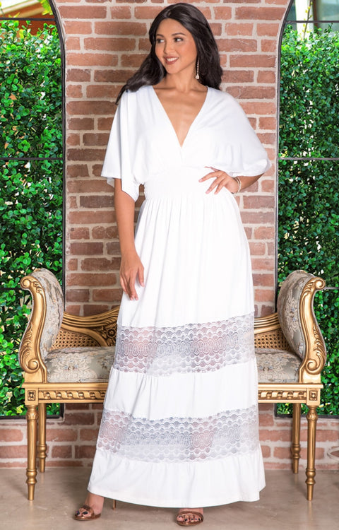 CIA - Long Bridesmaid Wedding Sundress Vneck Lace Sexy Maxi Dress Gown - Ivory White / 2X Large