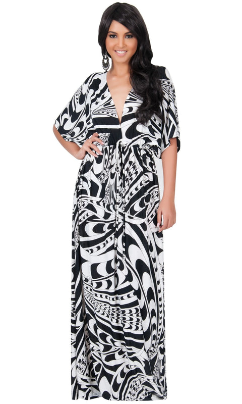 CLAIRE - Kimono Sleeve Cocktail Long Maxi Dress - Black & White / Large