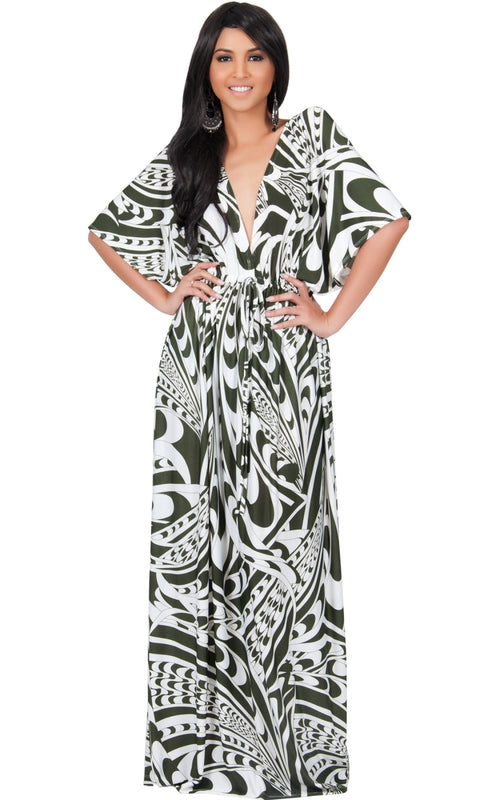 CLAIRE - Kimono Sleeve Cocktail Long Maxi Dress - Green & White / Large