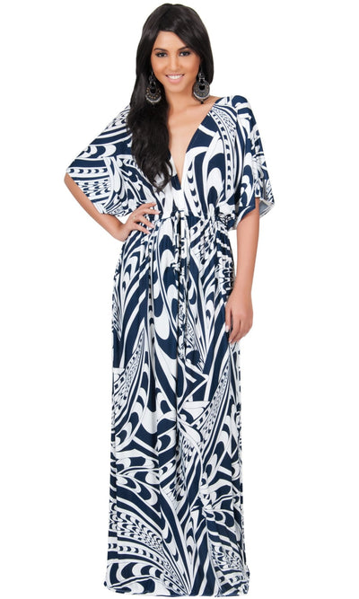 CLAIRE - Kimono Sleeve Cocktail Long Maxi Dress - Navy Blue & White / Large