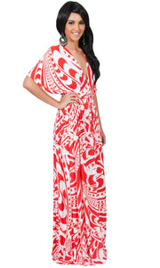 CLAIRE - Kimono Sleeve Cocktail Long Maxi Dress - Red & White / Large