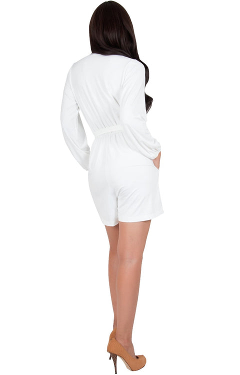 CLARA - Long Sleeve Wrap Belted Short Pants Jumpsuit