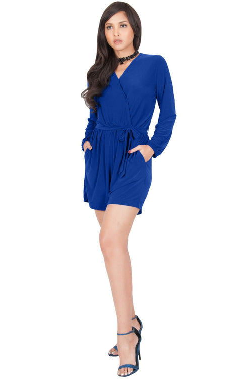 CLARA - Long Sleeve Wrap Belted Short Pants Jumpsuit - Cobalt Royal Blue / Small