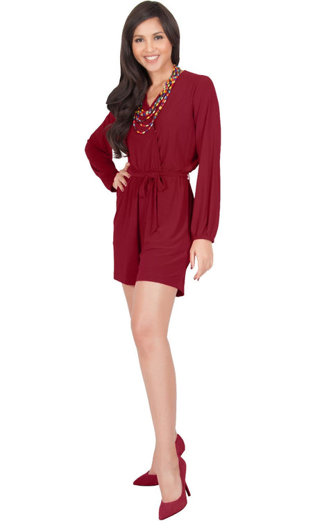 CLARA - Long Sleeve Wrap Belted Short Pants Jumpsuit - Crimson Dark Red / 2X Large