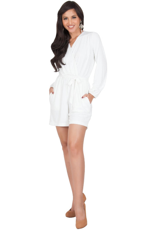 CLARA - Long Sleeve Wrap Belted Short Pants Jumpsuit - Ivory White / 2X Large