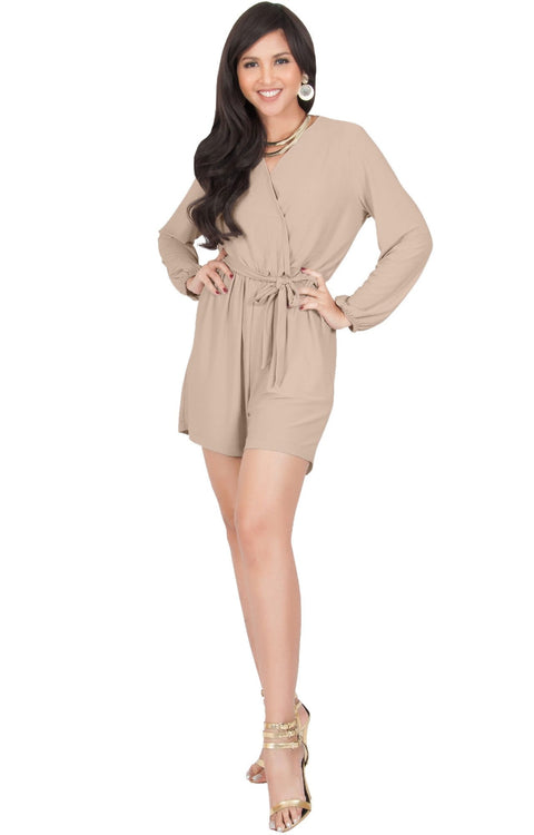 CLARA - Long Sleeve Wrap Belted Short Pants Jumpsuit - Nude Champagne Brown / Small
