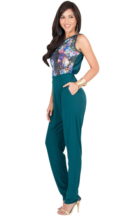COLLETTE - Floral Print Sleeveless Casual Sexy Jumpsuit