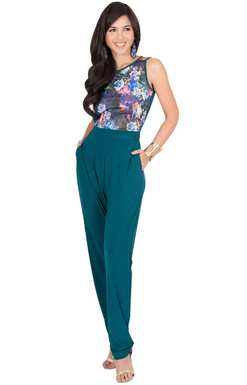 COLLETTE - Floral Print Sleeveless Casual Sexy Jumpsuit - Blue Green Jade / Small