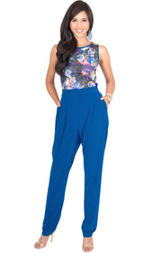 COLLETTE - Floral Print Sleeveless Casual Sexy Jumpsuit - Cobalt Royal Blue / Small