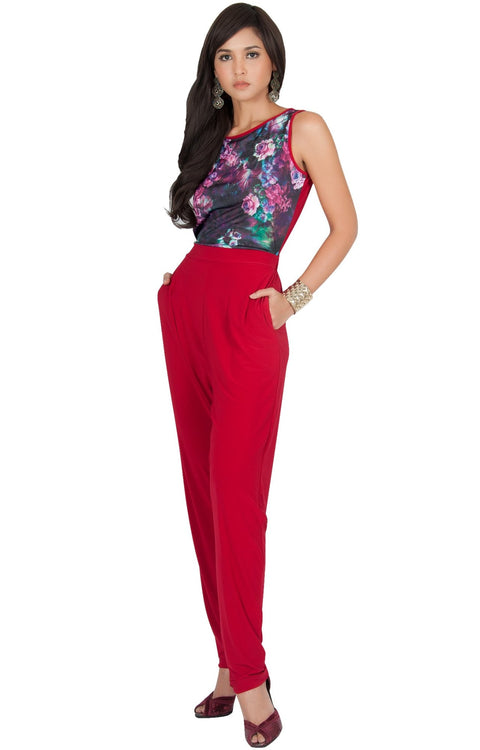 COLLETTE - Floral Print Sleeveless Casual Sexy Jumpsuit - Crimson Dark Red / 2X Large