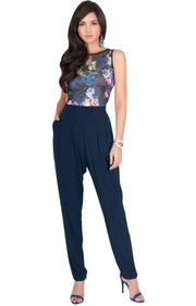 COLLETTE - Floral Print Sleeveless Casual Sexy Jumpsuit - Dark Navy Blue / 2X Large