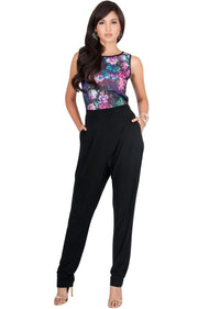 COLLETTE - Floral Print Sleeveless Casual Sexy Jumpsuit - Hot Fuchsia Pink / 2X Large