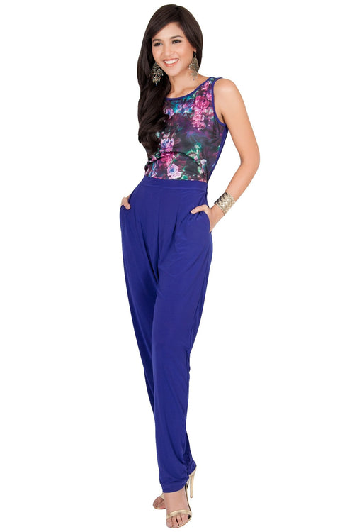 COLLETTE - Floral Print Sleeveless Casual Sexy Jumpsuit - Indigo Blue Purple / 2X Large