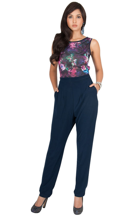 COLLETTE - Floral Print Sleeveless Casual Sexy Jumpsuit - Pink & Blue / 2X Large