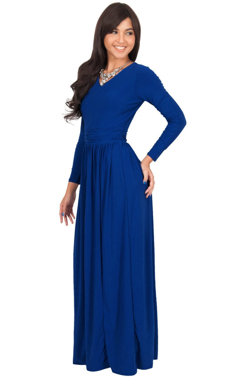 57953c29fc7 CORDELIA - Long Sleeve V-Neck Pleated Casual Fall Day Maxi Dress Gown
