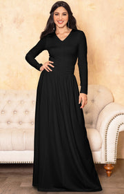 CORDELIA - Long Sleeve V-Neck Pleated Casual Fall Day Maxi Dress Gown - Black / Extra Large
