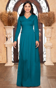 CORDELIA - Long Sleeve V-Neck Pleated Casual Fall Day Maxi Dress Gown - Blue Green Jade / Extra Small