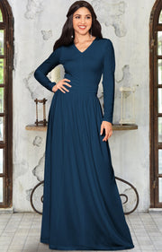 CORDELIA - Long Sleeve V-Neck Pleated Casual Fall Day Maxi Dress Gown - Blue Teal / Extra Large