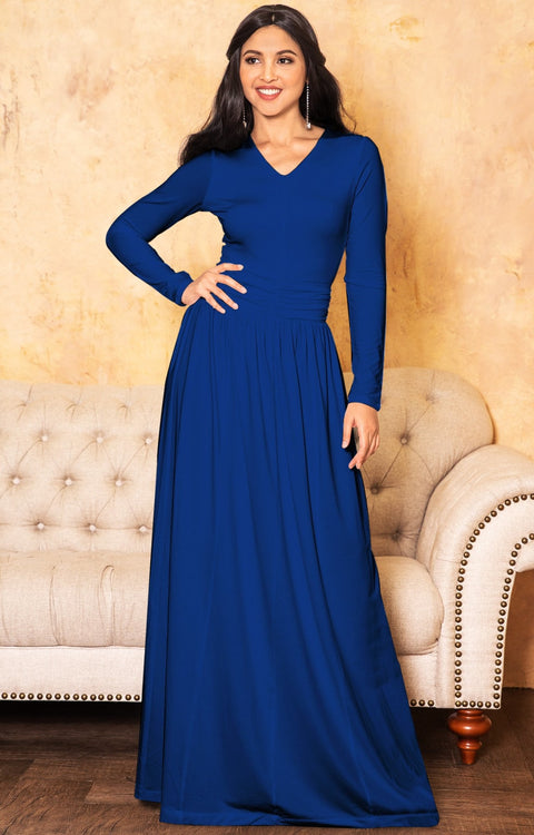 CORDELIA - Long Sleeve V-Neck Pleated Casual Fall Day Maxi Dress Gown - Cobalt Royal Blue / Extra Small