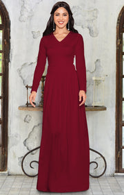 CORDELIA - Long Sleeve V-Neck Pleated Casual Fall Day Maxi Dress Gown - Crimson Dark Red / Extra Large