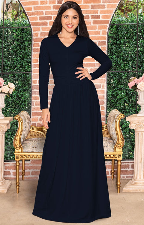CORDELIA - Long Sleeve V-Neck Pleated Casual Fall Day Maxi Dress Gown - Dark Navy Blue / Extra Large
