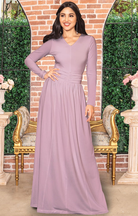 CORDELIA - Long Sleeve V-Neck Pleated Casual Fall Day Maxi Dress Gown - Dusty Pink / Extra Large