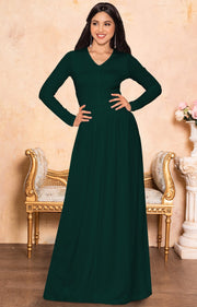 CORDELIA - Long Sleeve V-Neck Pleated Casual Fall Day Maxi Dress Gown - Emerald Green / Extra Large