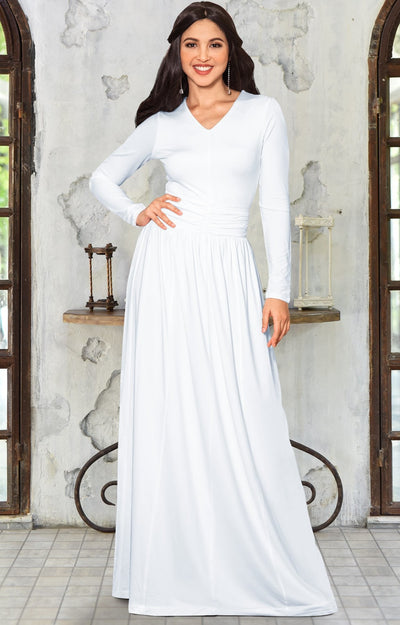 CORDELIA - Long Sleeve V-Neck Pleated Casual Fall Day Maxi Dress Gown - Ivory White / Extra Large