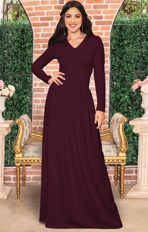 CORDELIA - Long Sleeve V-Neck Pleated Casual Fall Day Maxi Dress Gown - Maroon Wine Red / Extra Large