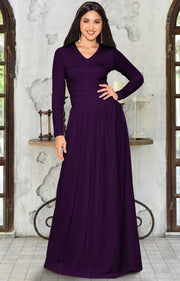 CORDELIA - Long Sleeve V-Neck Pleated Casual Fall Day Maxi Dress Gown - Purple / Extra Large