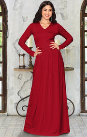 CORDELIA - Long Sleeve V-Neck Pleated Casual Fall Day Maxi Dress Gown - Red / Extra Large