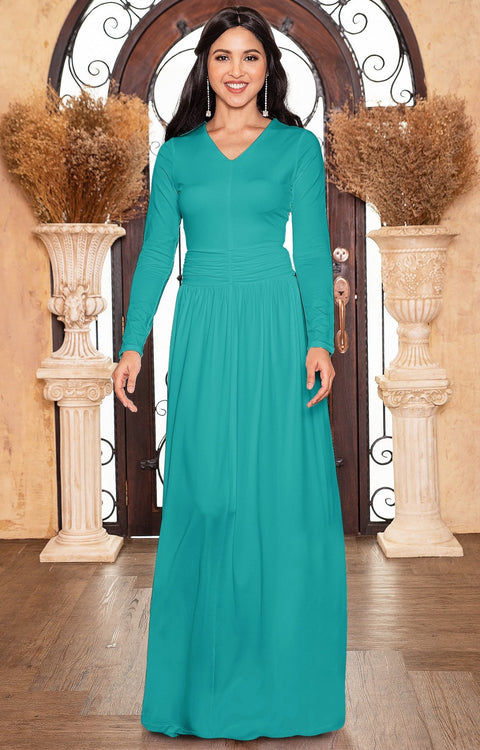 CORDELIA - Long Sleeve V-Neck Pleated Casual Fall Day Maxi Dress Gown - Turquoise / Extra Large