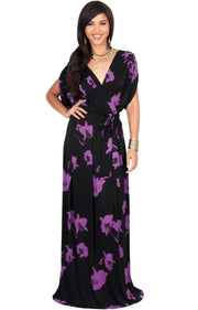 DAHLIA - Sexy V-neck Cross Over Floral Print Maxi Dress - Black & Purple / 2X Large