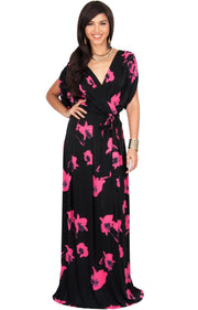 DAHLIA - Sexy V-neck Cross Over Floral Print Maxi Dress - Hot Fuchsia Pink / 2X Large