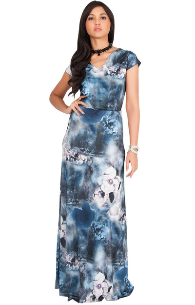DAPHNE - Cap Sleeve V-Neck Floral Printed Maxi Dress - Blue Gray / 2X Large