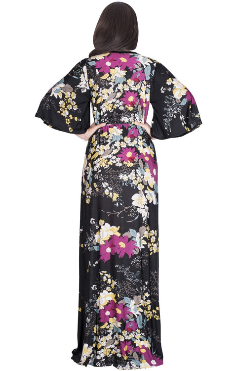 DEBRA - Long 3/4 Sleeve Floral Flower Print Flowy Sexy Maxi Dress Gown